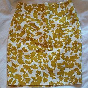 Mustard floral pencil skirt